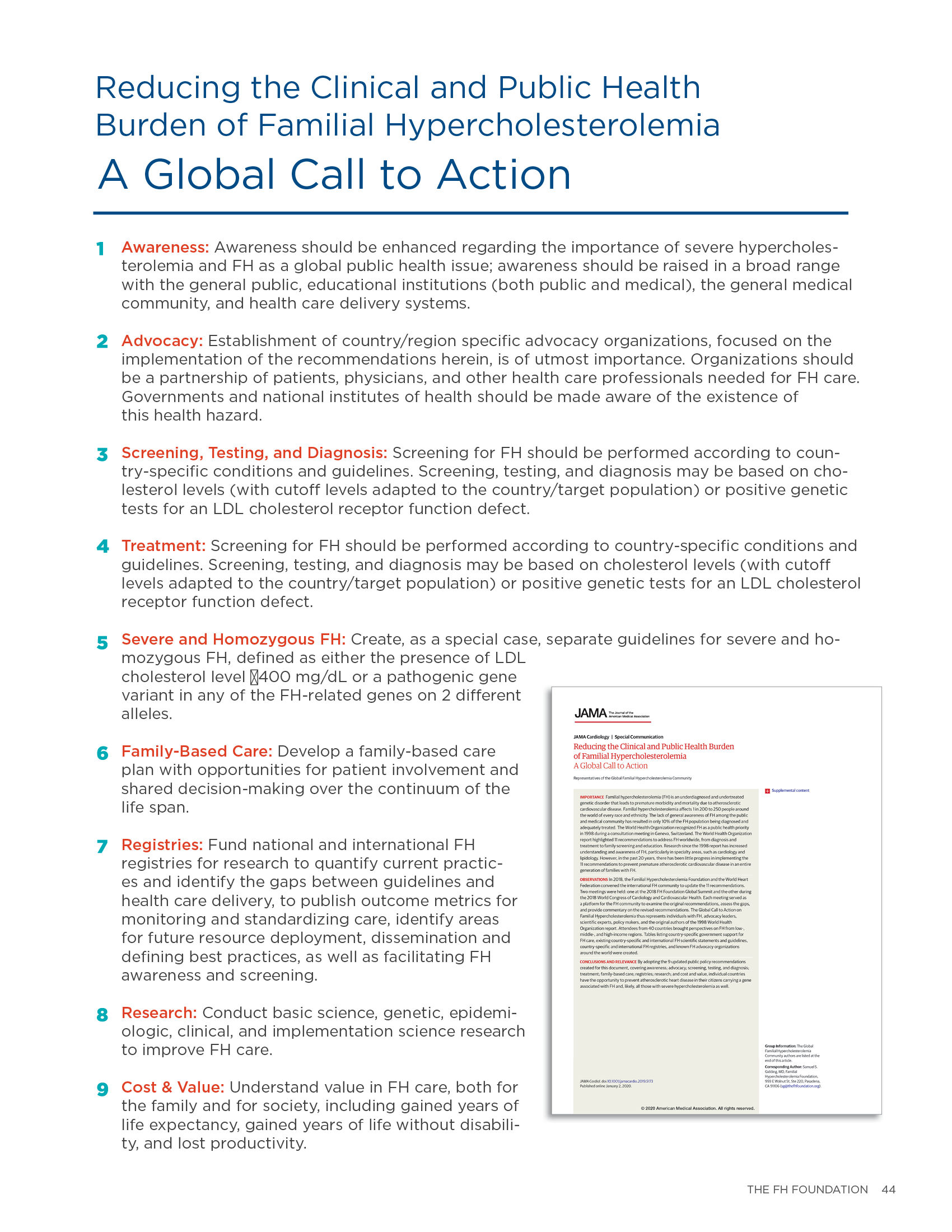 Table of Specific Recommendations from the Global Call to Action on Familial Hypercholesterolemia