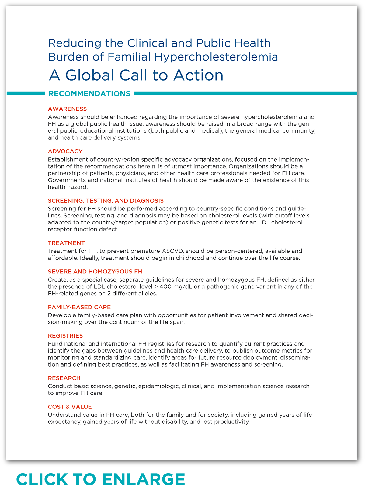 Global Call to Action Recommendations