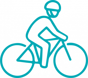 Image of a person riding a bike wearing a helmet