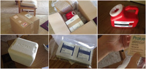 """The paraphernalia arrived: opening the enormous box from the """"Specialty Pharmacy"""", with all the accoutrements, along with the small box of Praluent (last shot)."""