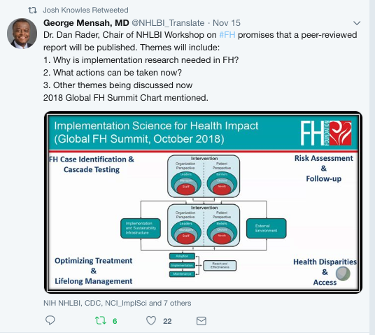 George Mensah recaps NHLBI implementation science workshop next steps on Twitter